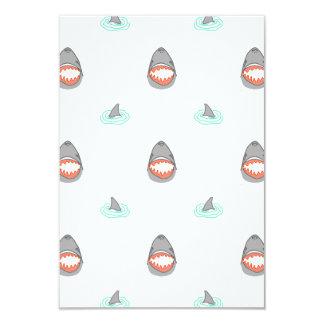 Shark heads & Fins in Grey on White/Aqua Ripples 9 Cm X 13 Cm Invitation Card