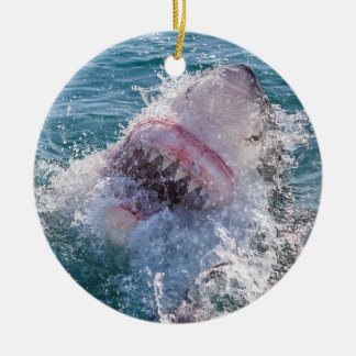 Shark in the water ceramic ornament