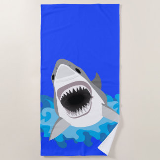 Shark Leaps from the Waves Scuba Diver Beach Towel
