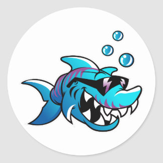 Shark, Meet Me at the Beach, Funny, Classic Round Sticker