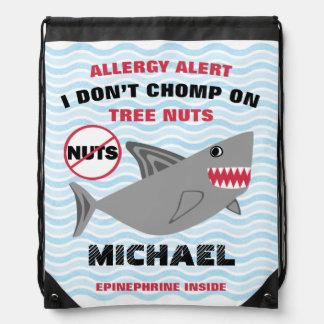 Shark Nut Allergy Alert Drawstring Bag