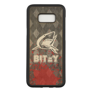 Shark Pictogram on Grungy Black Argyle Carved Samsung Galaxy S8+ Case