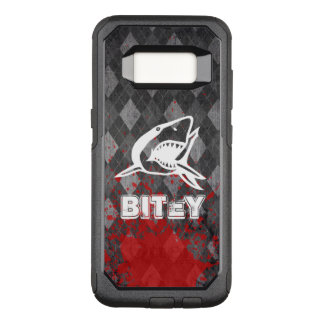Shark Pictogram on Grungy Black Argyle OtterBox Commuter Samsung Galaxy S8 Case