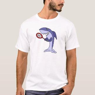 Shark Playing Tennis Cartoon T-Shirt