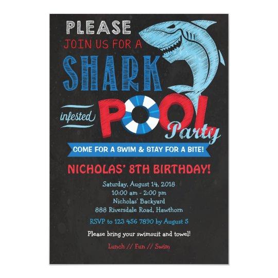 shark pool party invitation shark invitation zazzle com au