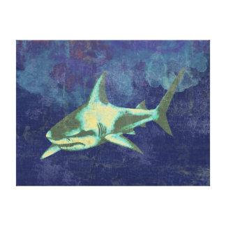shark . sea animals, blue aged canvas print