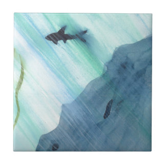 Shark Swimming Ceramic Tile
