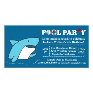Shark Swimming Pool Party Birthday Invitation Customized Photo Card