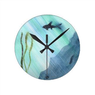 Shark Swimming Round Clock