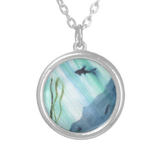 Shark Swimming Silver Plated Necklace