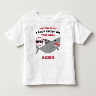 Shark Tree Nut Allergy Alert Personalized Boys Toddler T-Shirt
