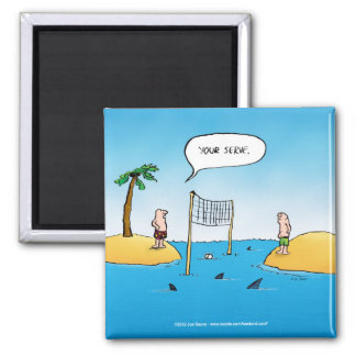 Shark Volleyball Funny Cartoon Square Magnet