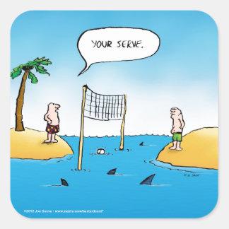 Shark Volleyball Funny Cartoon Square Sticker