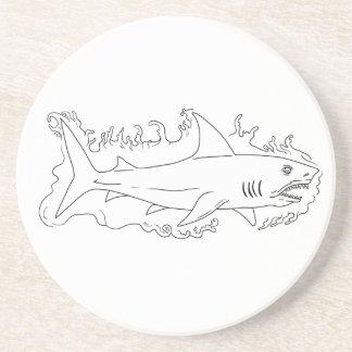 Shark Water Side Drawing Coaster