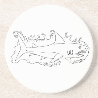 Shark Water Side Drawing Drink Coasters