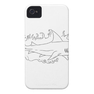 Shark Water Side Drawing iPhone 4 Cases