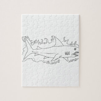 Shark Water Side Drawing Jigsaw Puzzle