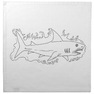 Shark Water Side Drawing Napkin