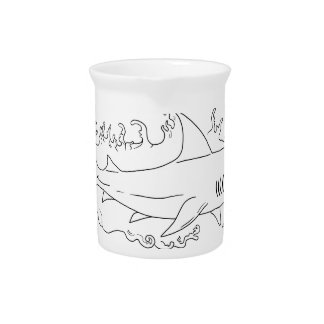 Shark Water Side Drawing Pitcher