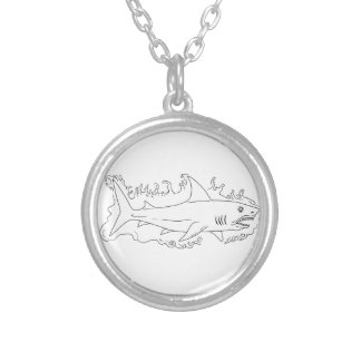 Shark Water Side Drawing Silver Plated Necklace