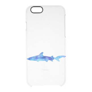 Shark Watercolor Silhouette Dye Teal Blue Aqua Clear iPhone 6/6S Case