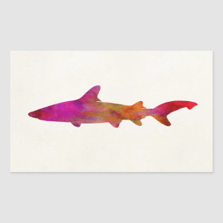 Shark Watercolor Silhouette Pink Tie Dye Pink Rectangular Sticker