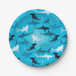 sharks! 7 inch paper plate