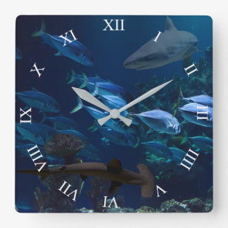 Sharks and School of Fish in Blue Ocean Wall Clock