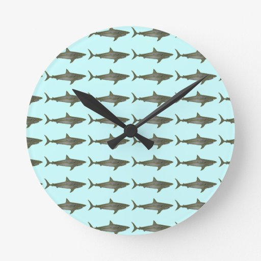 Sharks cool pattern round clocks