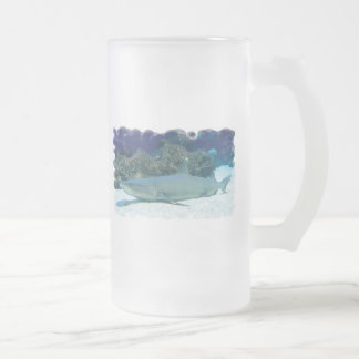 Sharks in Coral Reef Frosted Beer Mug