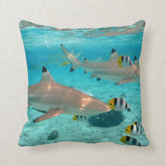 Sharks in the Bora Bora lagoon throw pillow