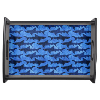 Sharks in the Deep Blue Sea Serving Tray