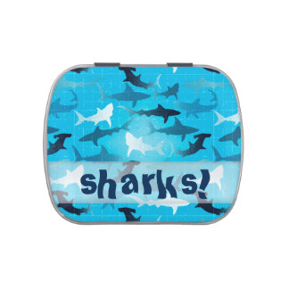 sharks! jelly belly candy tin