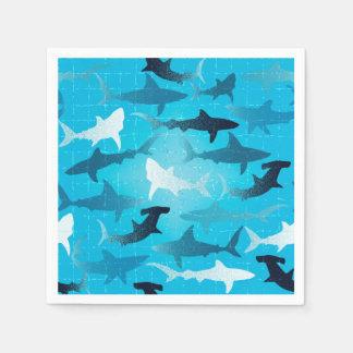 sharks! paper serviettes