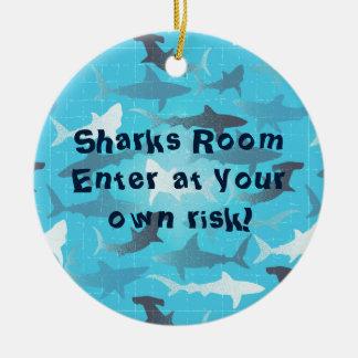 sharks! round ceramic decoration