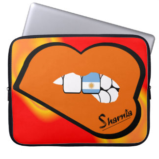 Sharnia's Lips Argentina Laptop Sleeve Orange Lips