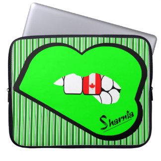 Sharnia's Lips Canada Laptop Sleeve (Grn Lips)