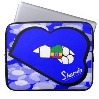 "Sharnia's Lips Ethiopia Laptop Sleeve 15"" Blue Lip"