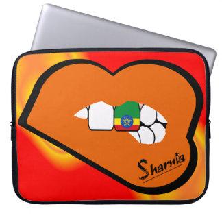Sharnia's Lips Ethiopia Laptop Sleeve Orange Lips