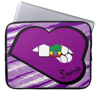 Sharnia's Lips Ethiopia Laptop Sleeve Purple Lips