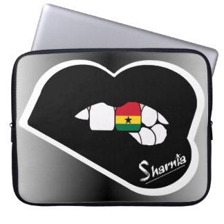 "Sharnia's Lips Ghana Laptop Sleeve 15"" Black Lips"