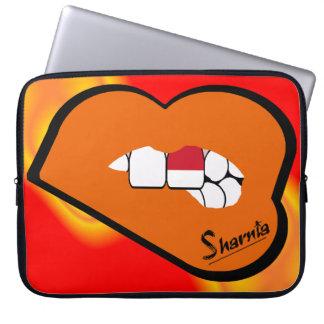 Sharnia's Lips Indonesia Laptop Sleeve Orange Lips