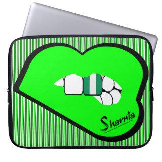 Sharnia's Lips Nigeria Laptop Sleeve (Grn Lips)