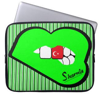 Sharnia's Lips Turkey Laptop Sleeve (Grn Lips)