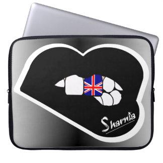 "Sharnia's Lips UK Laptop Sleeve 15"" (Black Lips)"