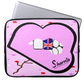 Sharnia's Lips UK Laptop Sleeve (Lt Pink Lips)