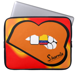 Sharnia's Lips Venezuela Laptop Sleeve Orange Lips