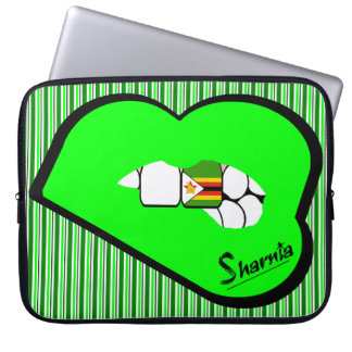 Sharnia's Lips Zimbabwe Laptop Sleeve (Grn Lips)