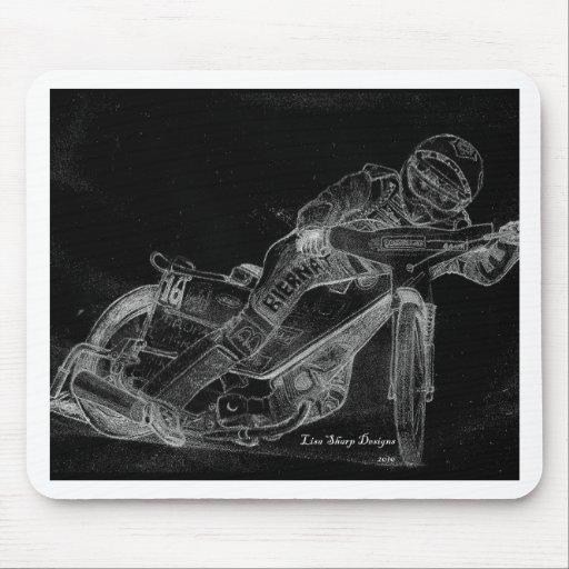 sharp designs. speedway bikeonblack mouse mat
