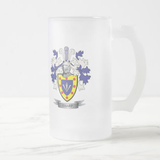 Sharp Family Crest Coat of Arms Frosted Glass Beer Mug